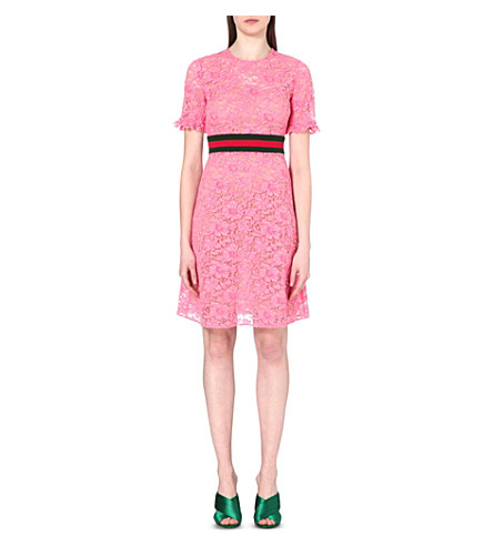 GUCCI STRIPED FLORAL-LACE DRESS, PINK CORAL