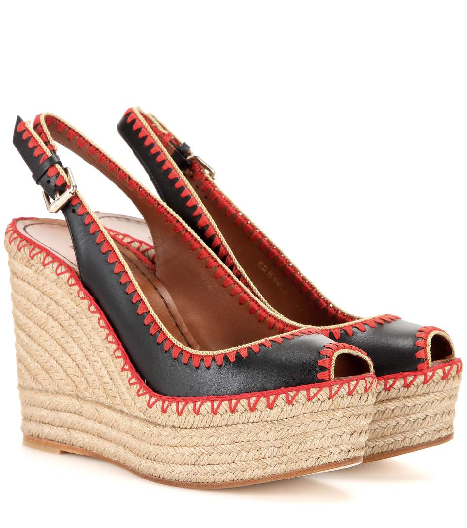 2041fb948d6 Leather Peep-Toe Espadrille Wedge Sandals, ブラック