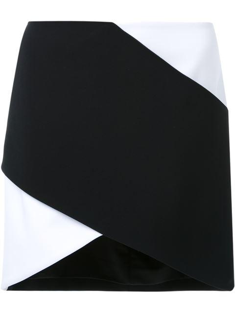 MUGLER BI COLOR FITTED CADY SKIRT, BLACK WHITE