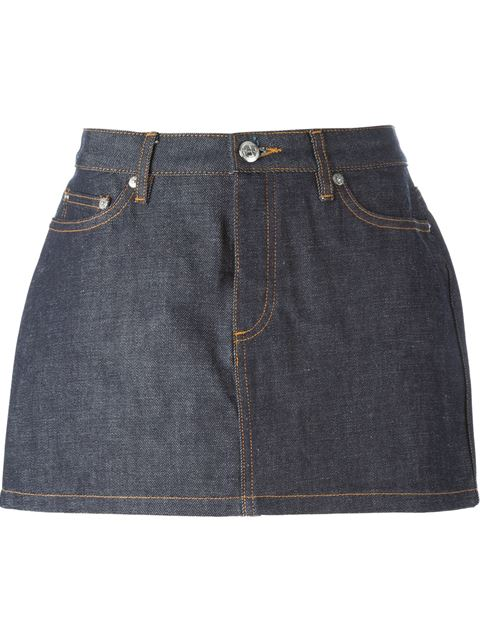 Indigo Mini Denim Skirt in Blue