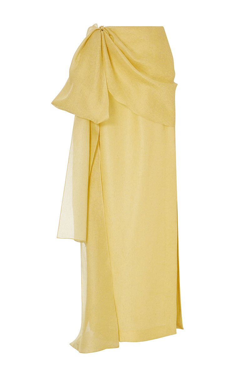 Hustle & Bustle Jacquard Silk And Cotton-Blend Maxi Skirt, Yellow
