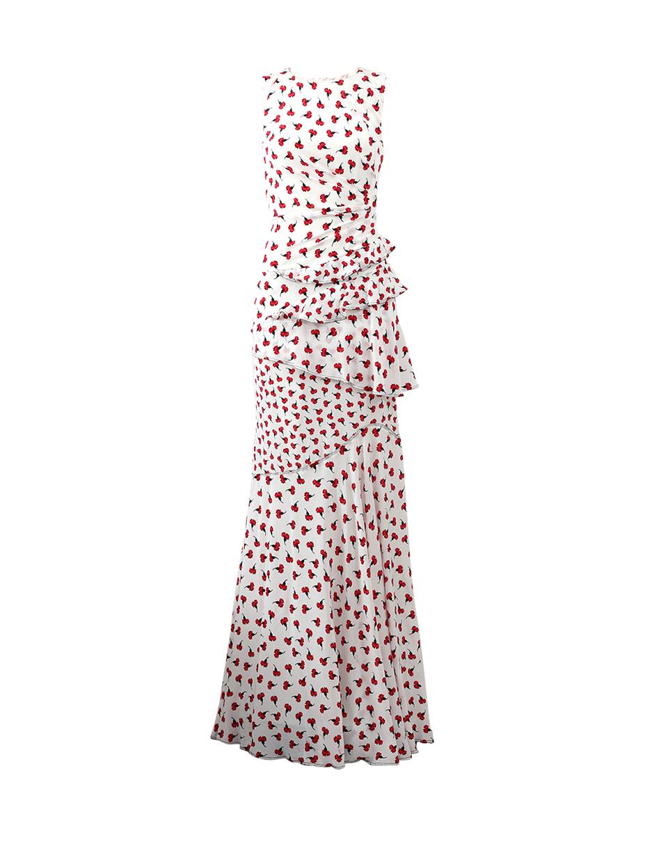 OSCAR DE LA RENTA Carnation Print Gown in Ruby