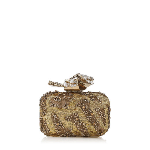 Cloud Silver Embroidered Clutch Bag With Crystal Knot Clasp, Gold
