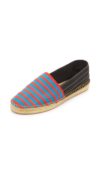 Woman Sienna Striped Canvas Espadrilles Red in Blue/Red