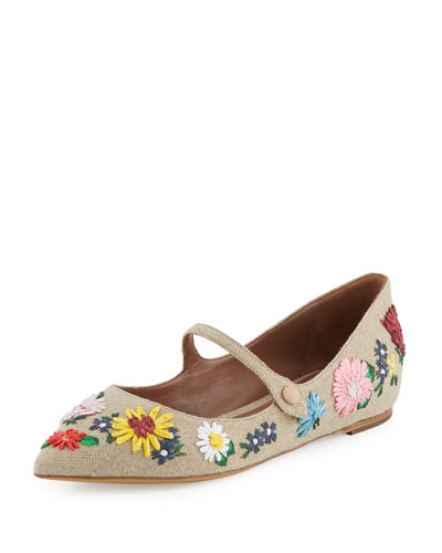 Tabitha Simmons Floral Embroidered Flats