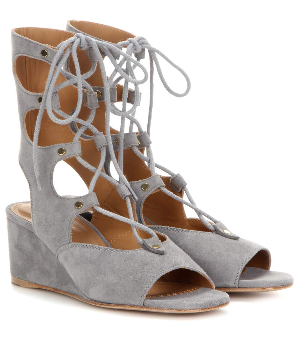 Chloé Suede Wedge Sandalo Clearance Real Free Shipping Genuine