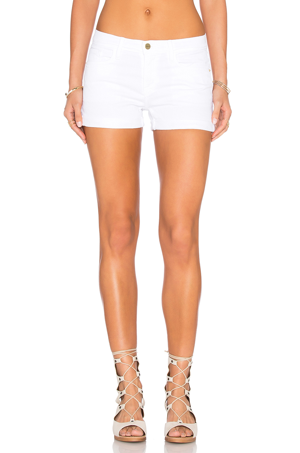 Le Cut Off Denim Shorts - White Size 26
