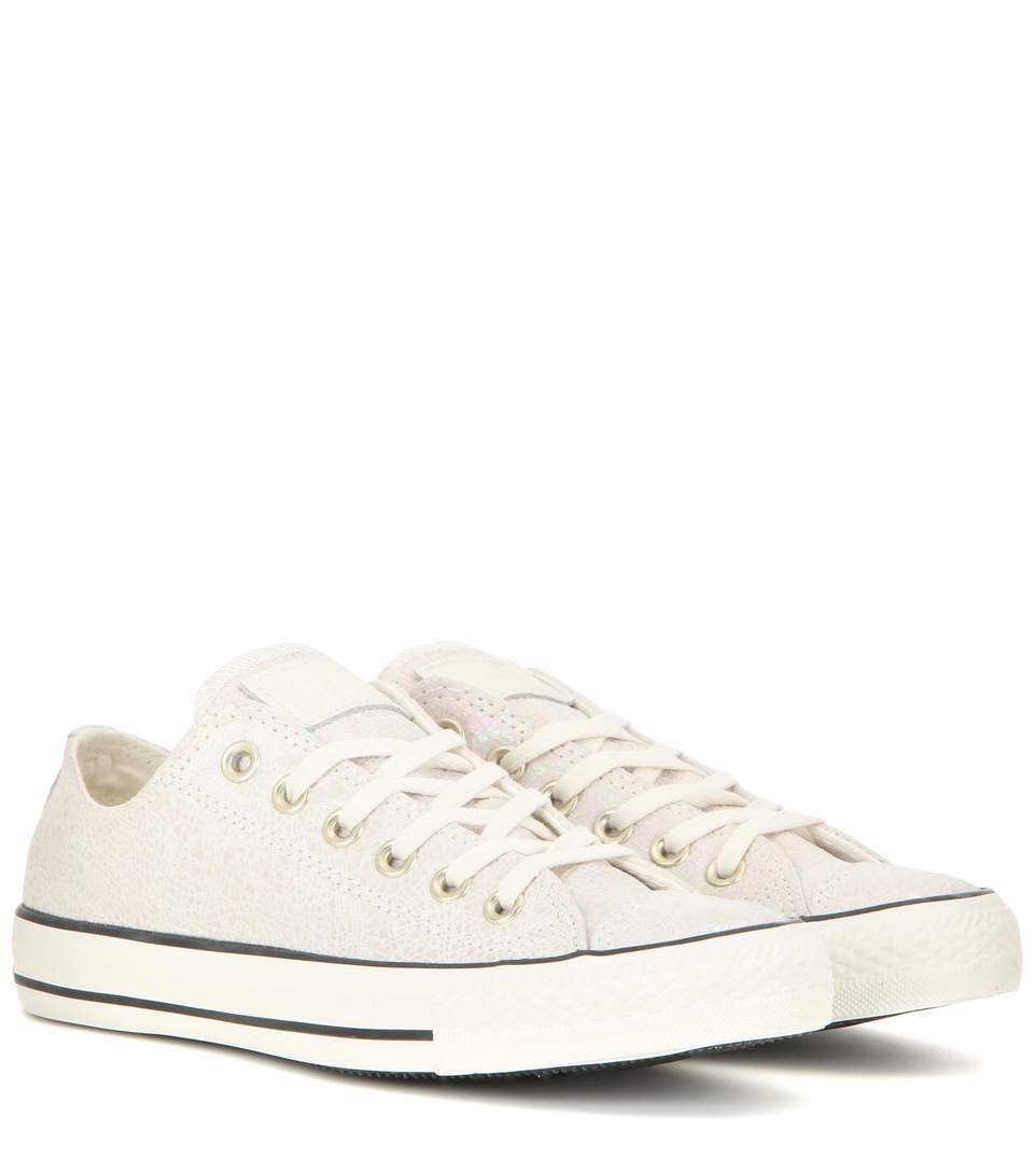 CONVERSE CHUCK TAYLOR ALL STAR OX IRIDESCENT SUEDE SNEAKERS, OFF WHITE
