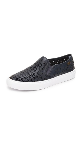 Tory Burch Leather Laser Cut Slip-On Sneakers Clearance New Get Authentic Online Low Cost For Sale 4FL8ao7