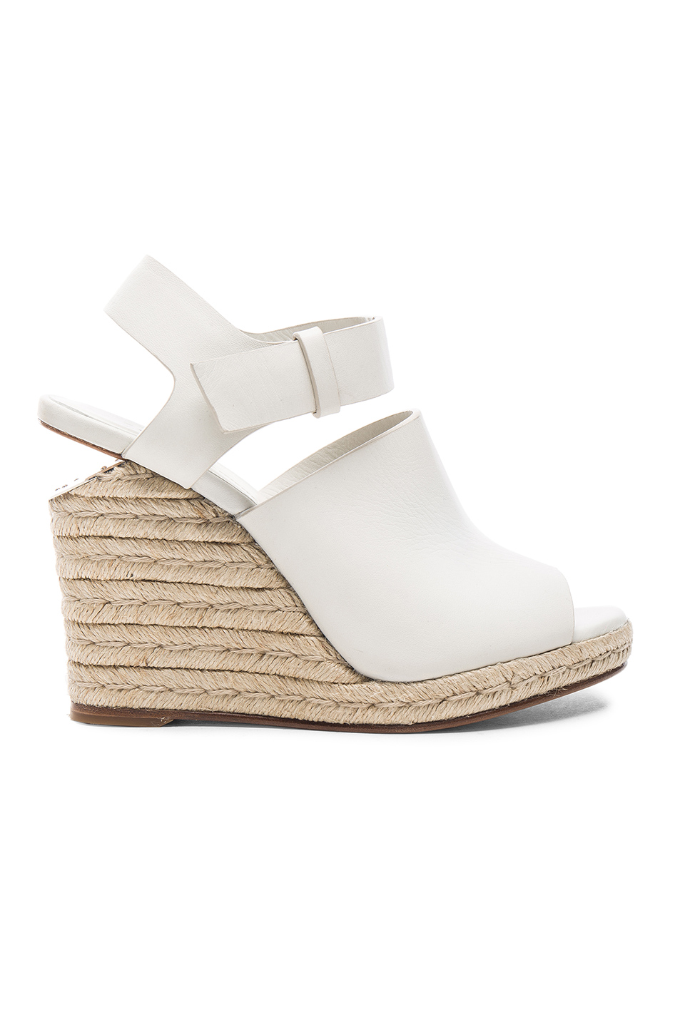 Leather Sandals With Raffia Wedges in Milk