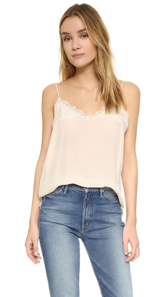 ANINE BING Lace-Trimmed Washed-Silk Camisole in Nude & Neutrals