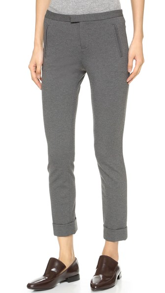 Slim Stretch Twill Crop Pants, Charcoal Heather