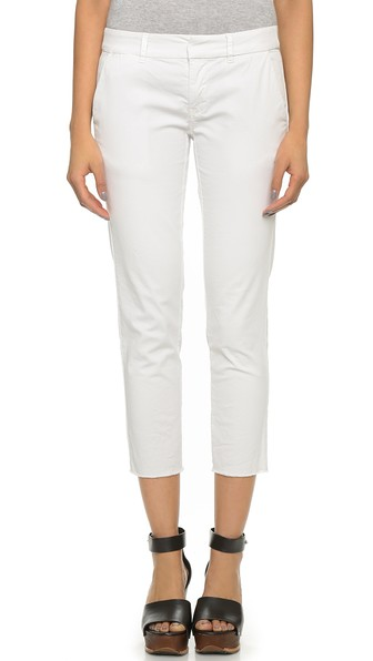 Mid-Rise Stretch-Cotton Military Trousers, Eggshell