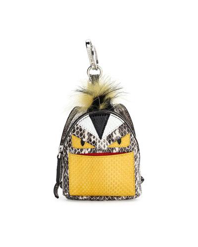 Monster Snakeskin Backpack Charm For Handbag, Natural Multi, Eatural