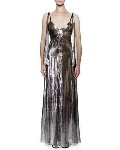 SAINT LAURENT Knotted Shoulder Lingerie Dress In Dark Silver Silk And Polyester Lamé