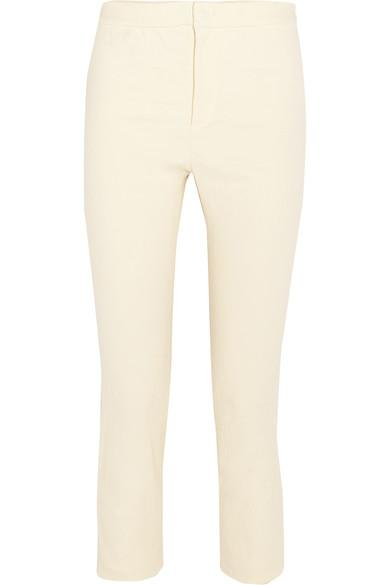 Woman Lindy Cropped Stretch Linen-Blend Skinny Pants Ecru