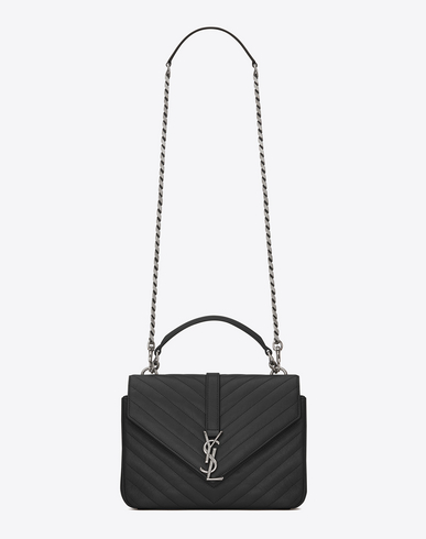 College Medium Monogram Ysl V-Flap Crossbody Bag - Silver Hardware in 1000 Black