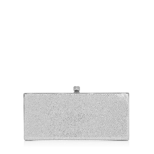 Celeste Silver Glitter Fabric Clutch Bag With Cube Clasp in Metallic
