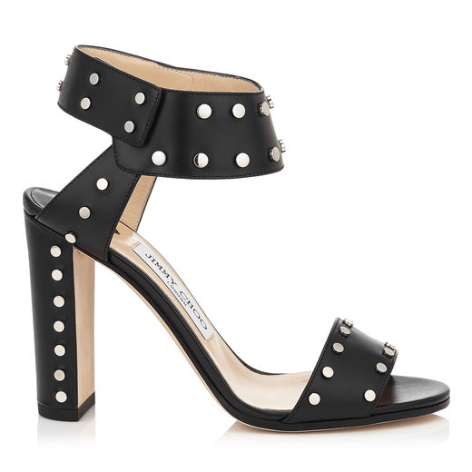Veto 100 Black Shiny Leather Sandals With Silver Studs