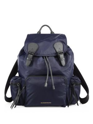 The Extra Large Rucksack In Technical Nylon And Leather in Blue