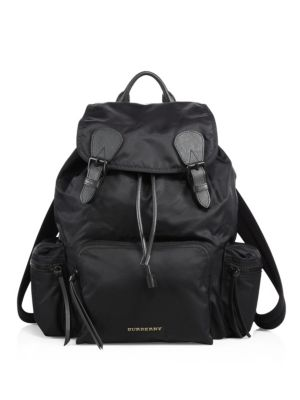 The Extra Large Rucksack In Technical Nylon And Leather in Black