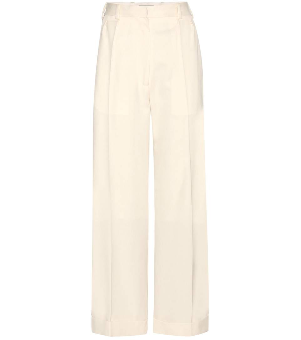 HILLIER BARTLEY CROPPED WIDE-LEG WOOL TROUSERS, WHITE