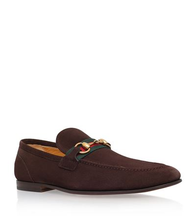Elanor Horsebit Webbing-trimmed Suede Loafers Gucci