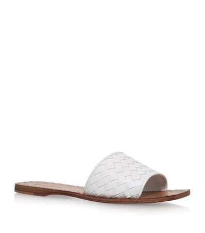 Intrecciato Leather Sandals, White