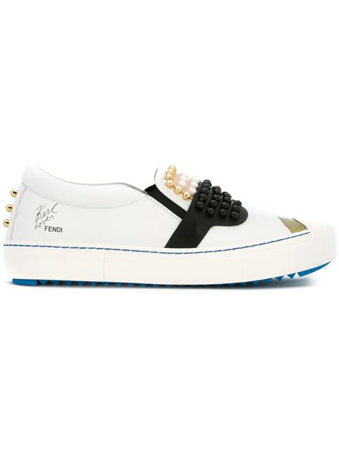 Embellished Slip-On Leather Sneakers, White