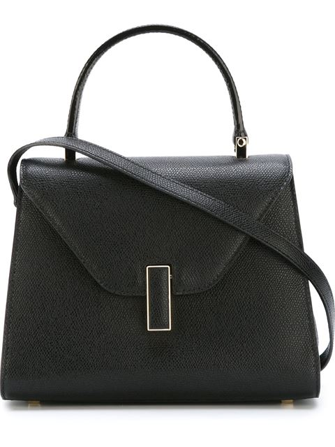 Iside Medium Leather Top-Handle Bag in Black