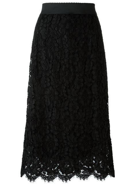 Elastic Waistband A-Line Tea-Length Lace Skirt in Black