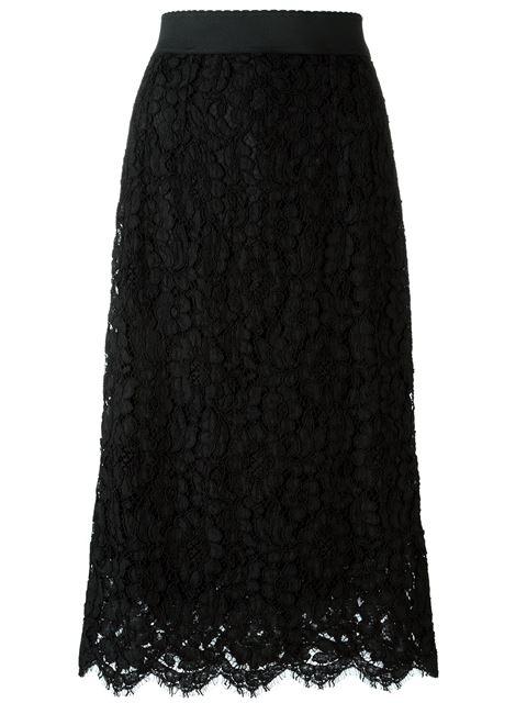 DOLCE & GABBANA Elastic Waistband A-Line Tea-Length Lace Skirt in Black