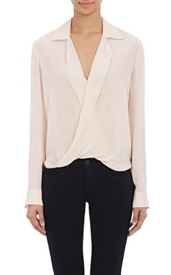 Rita Wrap-Effect Silk-Chiffon Blouse, Quartz