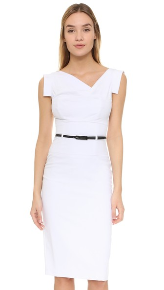 Jackie O Belted Dress in White