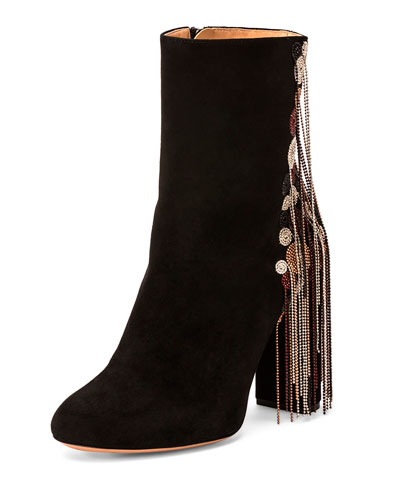 Bead-Fringe Suede Ankle Boot, Black/Mix, Mix Multico