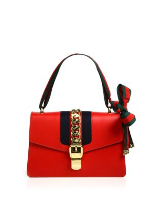 Sylvie Medium Chain-Embellished Leather Tote in Red