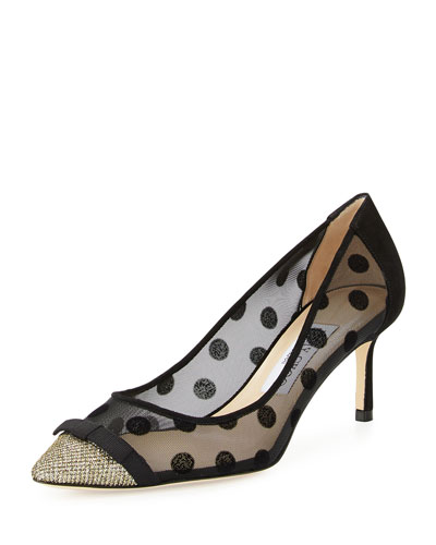 Dorothy Polka-Dot Mesh Pump, Black/Bronze, Light Bronze/Blac