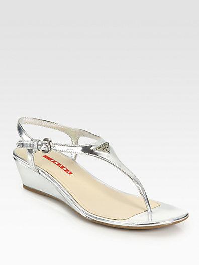 7e011d9e7cc Prada Metallic Silver Leather T-Strap Wedge Sandals In Argento-Silver
