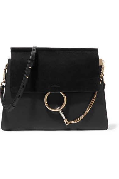 Faye Medium Leather And Suede Shoulder Bag in Black