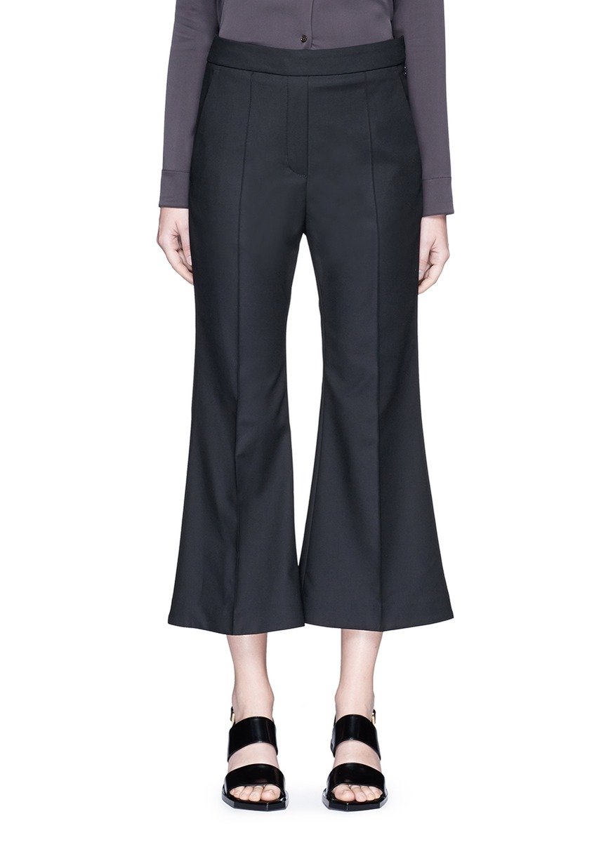 'Bulgaria' Cady Cropped Flare Pants in Blue
