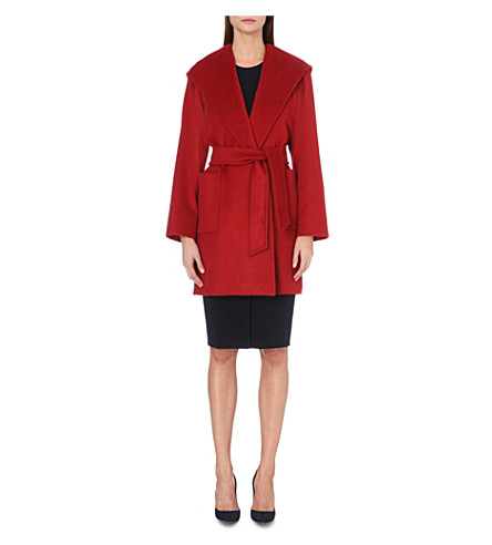 Ladies Red Patch Pocket Luxury Rialto Hooded Camel Hair Coat