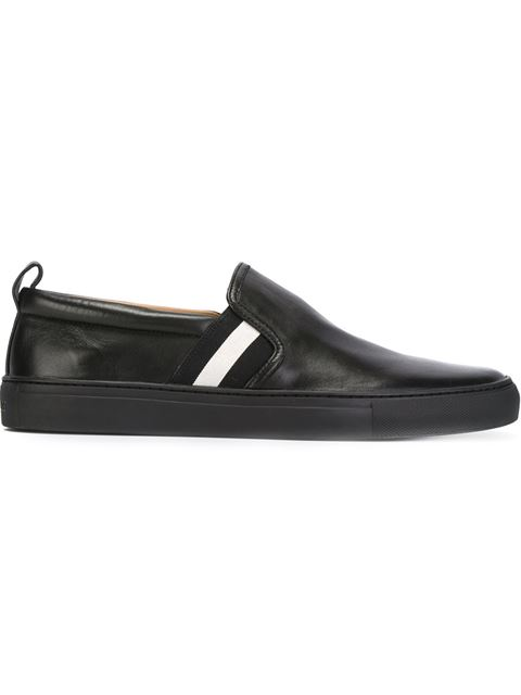 Striped Detail Slip-On Sneakers, Black Leather