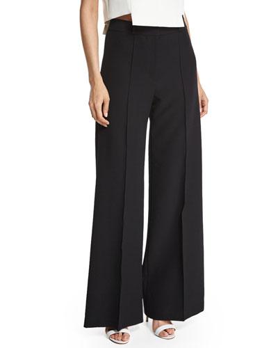 MILLY Hayden High-Waist Italian Cady Trousers in Black