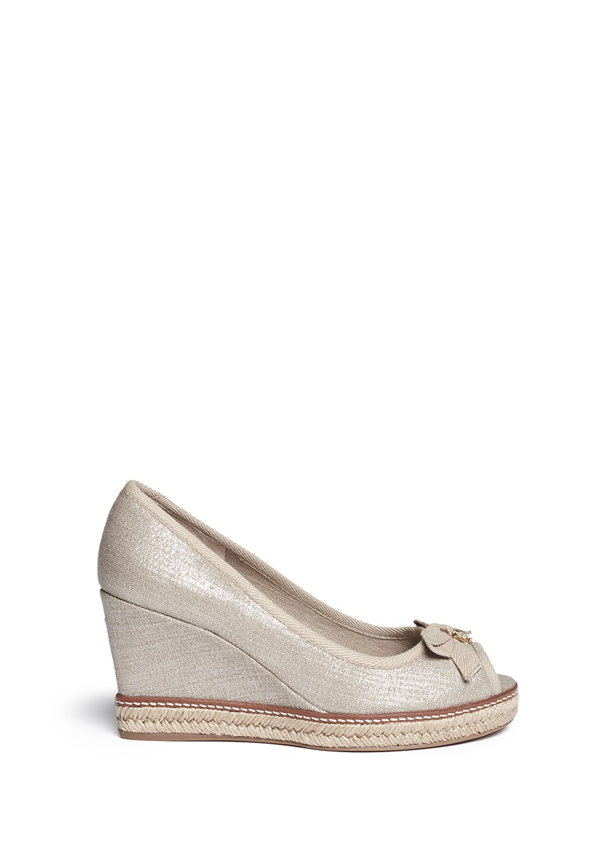 43e17daea84b Tory Burch  Jackie  Metallic Linen Wedge Espadrille Pumps In Beige ...