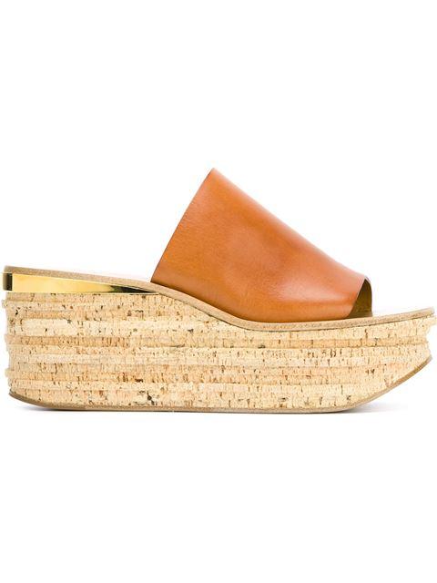 Suede Camille Wedge Sandals In Brown. in Neutrals