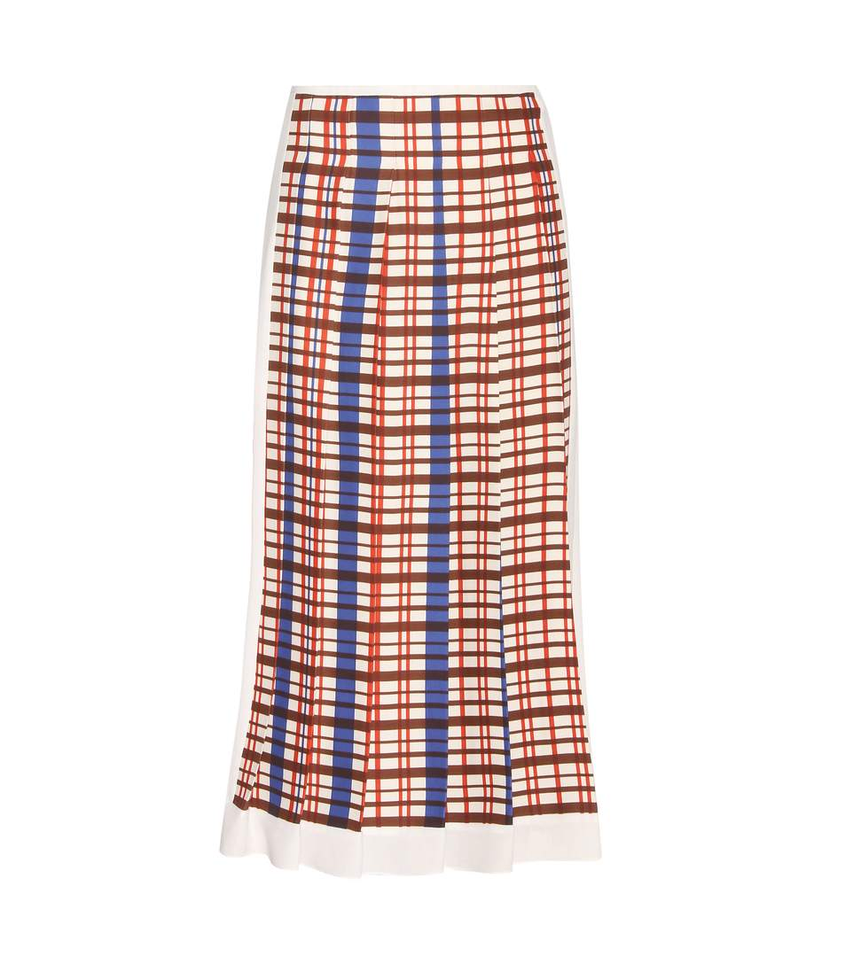 Woman Pleated Checked Crepe Midi Skirt Ivory in Multicoloured