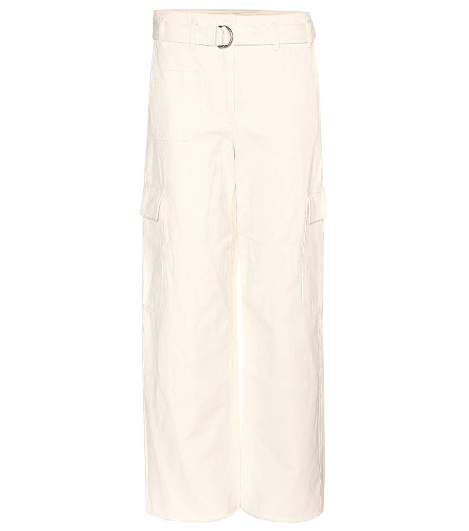 HELMUT LANG WIDE-LEG COTTON AND LINEN TWILL TROUSERS, WHITE