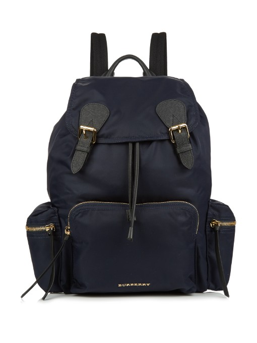 The Medium Leather-Trimmed Backpack, Midnight-Blue