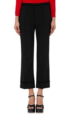 High-Rise Flared-Leg Stretch-Wool Cropped Pants in Black