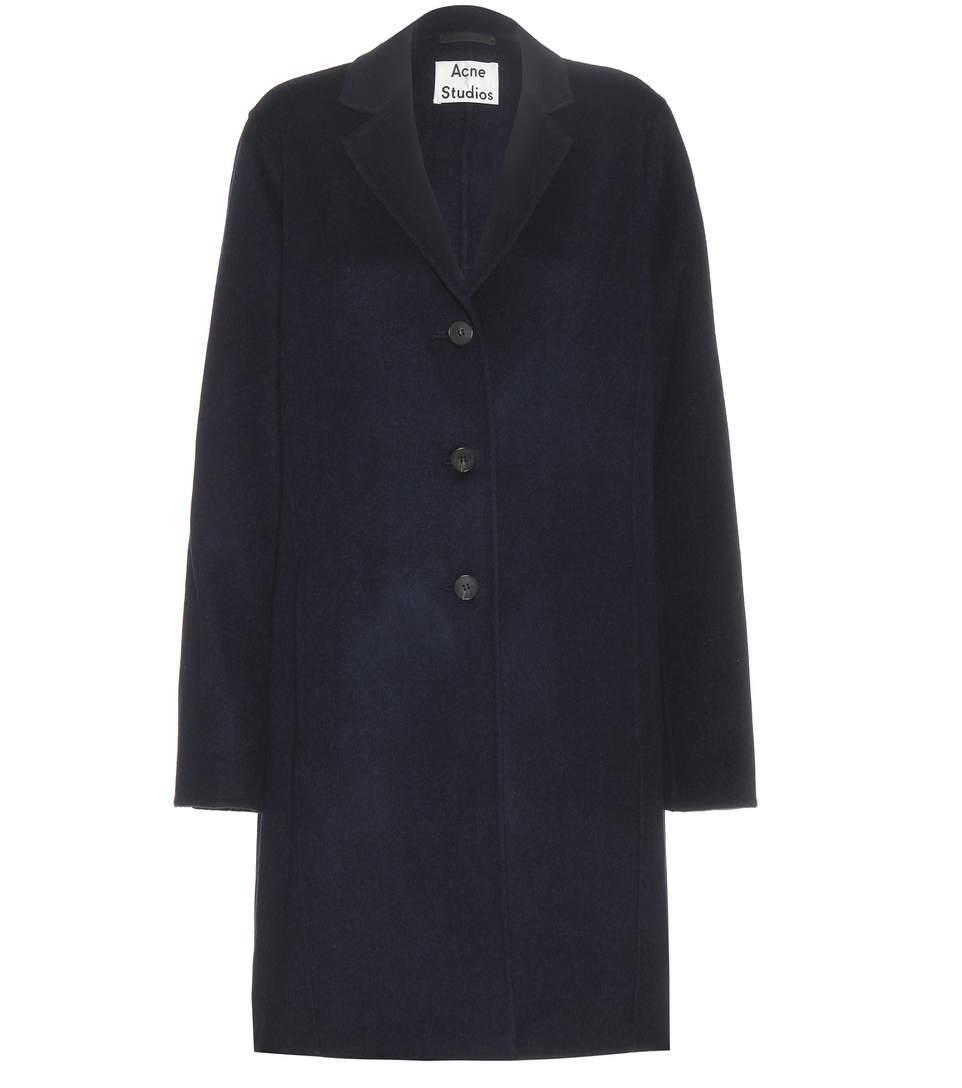 Landi Brushed Wool-Cashmere Melton Coat - Black Size 40 Eu